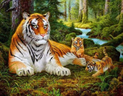 Tigers Animals DIY Painting By Numbers Acrylic Picture Wall Art Canvas Painting