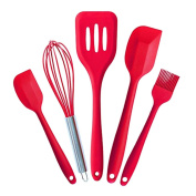 TOTOONE Silicone Spatula Utensil Set Heat-Resistant Non-stick Cooking Baking Utensils with Hygienic Solid Coating Spatula Set 5Pcs(Red)US007