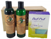 Men's Sandalwood And Vanilla Body Wash and lotion Gift Set, 3M Buf-Puf Body Sponge Bundled With Manly Man's All Natural Scented Body Wash And Lotion In A Wooden Box Set