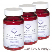 3 Bottles Relumins Advance Nutrition Gluta 1000 - Reduced L-Glutathione Complex - 30 Caps Per Bottle (45 Day Supply) -Super Value!