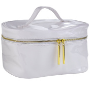 White Patent Makeup Bag for Travel & Storage, Made of Vegan Leather