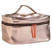 Rose Gold Metallic Makeup Bag for Travel & Storage, Made of Vegan Leather