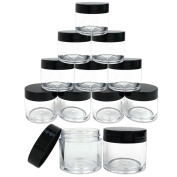 Beauticom 12 Piece 30ml USA Acrylic Round Clear Jars with Flat Top Lids for Creams, Lotions, Make Up, Cosmetics, Samples, Herbs, Ointments