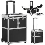 Yaheetech Pro Aluminium Rolling Makeup Case Salon Cosmetic Box Organiser Trolley Beauty Train Case,Black