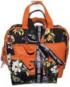 Three (3) Piece Cosmetic Overnight Set Black Orange Floral