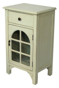 Heather Ann Creations Single Drawer Distressed Cabinet with Cathedral Glass Window Inserts, 80cm x 46cm , Light Grey