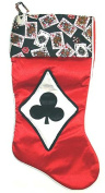 48cm Satin Deck of Cards Clubs Casino Gambling Red Christmas Stocking
