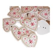 Baby Box 25 Pcs Christmas Tree Wood Star Heart Tree Decorations