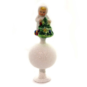 Inge Glas Snow Child with Tree German Glass Christmas Tree Topper Decoration New