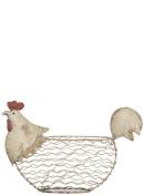Chicken White Wire 37cm x 27cm Metal Decorative Tabletop Basket