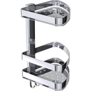 BR Wall Corner Shower Caddy Double Shelf Organiser for Shampoo, Soap With Hooks