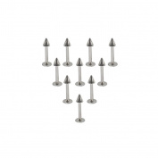 FB-Set of 5 Pair Stainless Steel 16G Lip Rings Labret Monroe Nose Studs Helix Earring Piercing 8mm Bar Length 3mm Spike
