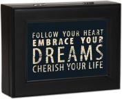 Typography Follow Your Heart Matte Black Finish Jewellery Music Box - Plays Wonderful World