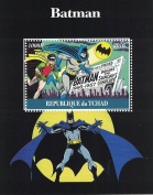 Stamps for collectors - perforfated stamp sheet featuring Batman / Comic Books / Batman and Robin / Superhero