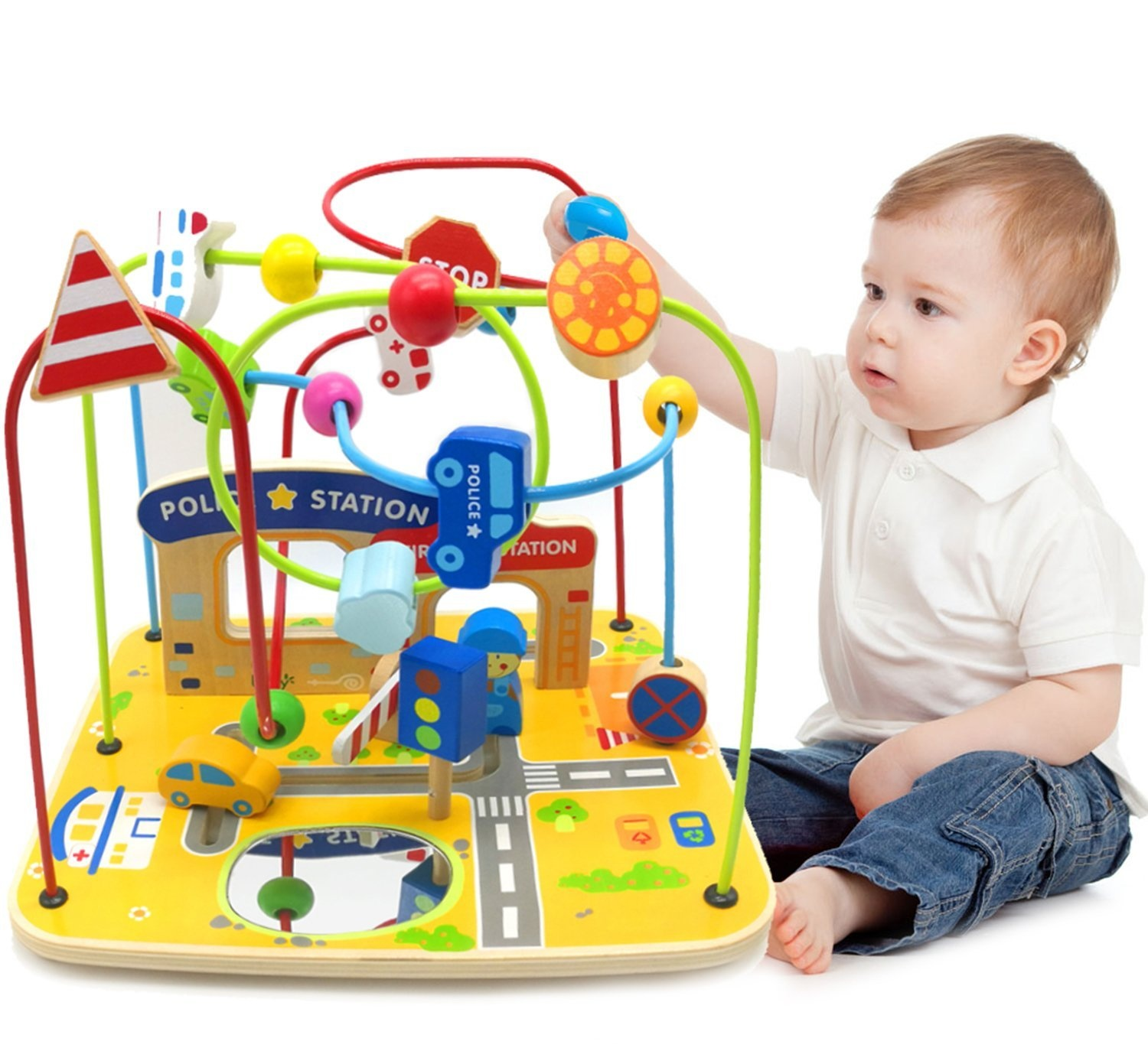 Alead Extra Large Wooden Bead Maze For Baby Toddler First Learning Activity Developmental Toys