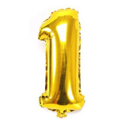 WENDYWU Gold Numbers 1 Foil Balloons Engagement Birthday Party Décor Birthday Party Anniversary Balloons