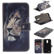 Leather Kickstand Case for LG Stylo 3(2017) with [Tempered Glass Screen Protector], Anti Scratch Flip Wallet Case, Magnetic Folio Case Cover for LG Stylo 3/Stylus 3/LS777-Lion