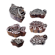 Ornate Pattern Tortoise and Fish Wood Block Stamps