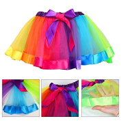 Zooarts Kids Girls Rainbow Dress Princess Party Tutu Dresses Outfits for 1-9 Years Girls (S