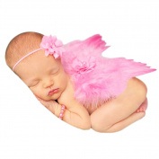 CHIC-CHIC Newborn Baby Toddler White Feather Angel Wing Set Cute Costume Cosplay Photography Photo Props Outfit with Head Band (0-6M)