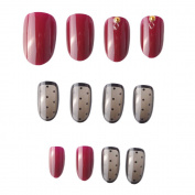 JINDIN 24 Sheet Fake Nails Oval Wine Red Transparent Black Acrylic False Nails for Girls Press On Nail Tips Decals
