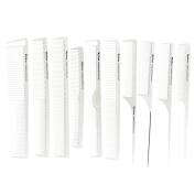 Mythus 10Pc Carbon Haircut Comb Kit White Colour Professional Salon Hairdressing Comb Antistatic, Heat Resistant