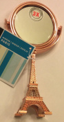 Mini Mirror with Eiffel Tower Stem, Champagne (Rose) Gold, 3x Magnification,