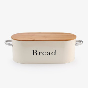 SveBake Bread Box Vintage & Retro Metal Bread Bin with Bamboo Lid and Handle, Cream