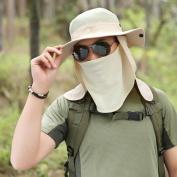 Unisex Quick Drying Fishing Hat Sun Hat Mesh Bucket Hat UPF 50+ Protection Detachable Cap Neck Face Flap Hat for Outdoor Activities