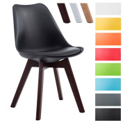 CLP Visitor chair BORNEO V2, faux leather, retro style, wooden frame, material mixture of plastic black, colour of frame