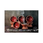 Star Child Hand Made Incense Burner Censer Dish With Red Glazed Top