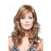 Women Lady Long Curly Hair Wig Tonake Brown Natural Heat Resistant Dyeing Synthetic Hair Wig