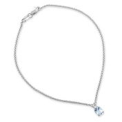 Gioie Women's Anklet in White 18k Gold with Aquamarine and Diamond H/SI, Cm 23, 3 Grammes