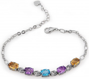 Sterling Silver Natural Gemstone Topaz and Amethyst and Citrine Bracelets