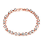 BODYA Rose Gold Plated clear Cubic Zirconia round drop pendant 20cm woman's Wedding Bridal Bracelet