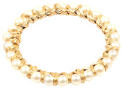 Vanina Women's Gold Plated Soft Leatherette Cord Wrapped Round Off-White Pearls Alma Bangle