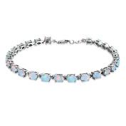Bling Jewellery 925 Silver Synthetic White Opal Oval Tennis Bracelet 19cm