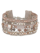 Chan Luu Women's 925 Sterling Silver Taupe Mixed Multi Strand Cuff Bracelet