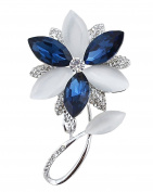 FENGJI Five Clover Shape Style Cats Opal Crystal Gold and Silver Plated Blue Brooch and Pin for Women