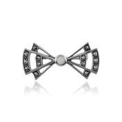 Gemondo Art Deco Brooch, 925 Sterling Silver Art Deco Opal & Marcasite Brooch