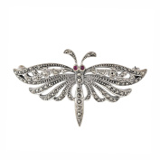 Esse Marcasite Sterling Silver Butterfly Brooch With Marcasite and Ruby