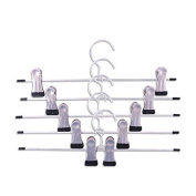 5 Pcs Anti-rust Clothes Pant Trouser/Skirt Hangers with Non-slip Adjustable Clips