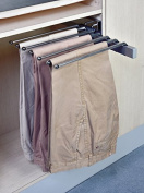 Pant Organiser Rack, Slide Out Side Mount , Satin Nickel Heavy Duty