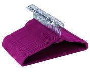 Eight24hours 100 Purple Flocked Non Slip Velvet Chrome Clothes Suit Hangers Top