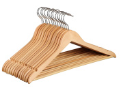 Finnhomy 20 Pack Wooden Hangers - Solid Wood Suit Coat Hangers - Sturdy Clothes Hangers with Non-slip Hanging Bar, Natural