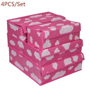 URToys 4PCS/Set Pink Cloud Grid Pattern Non-Woven Fabric Foldable Divider Storage Boxes With Cover For Ties Socks Shorts Bra Underwear Drawer Lidded Closet Home Clothing Organiser Container