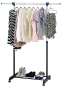 Finnhomy Single Rail Adjustable Garment Rack with Casters, Black & Chrome