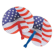 July 4th Patriotic Themed American Flag Fans Party Favours Toys 1 Dozen