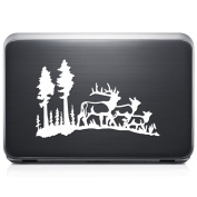 Deer Family Buck Hunting REMOVABLE Vinyl Decal Sticker For Laptop Tablet Helmet Windows Wall Decor Car Truck Motorcycle - Size (05 Inch / 13 Cm Wide) - Colour
