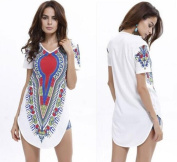 Mini Shirts Dress African Traditional Tribal Party Women Hippie Hobo Loose White Size XL